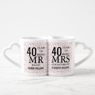 Set De Tazas De Café Sr. de rubíes señora la Right del aniversario del