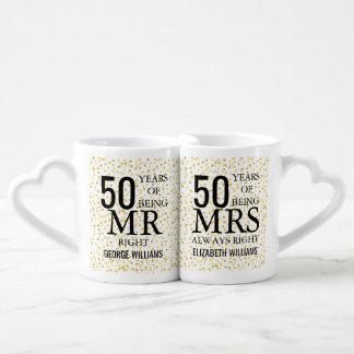 Set De Tazas De Café Sr. señora la Right del aniversario del confeti