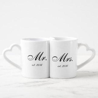 """Set De Tazas De Café """"Sr. y la señora """"personalizaron el sistema de la"""