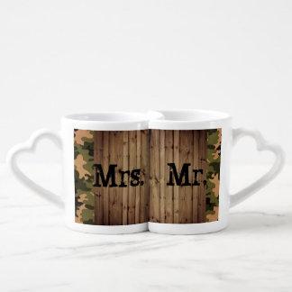 Set De Tazas De Café Sr. y señora rústicos boda de Camo del país