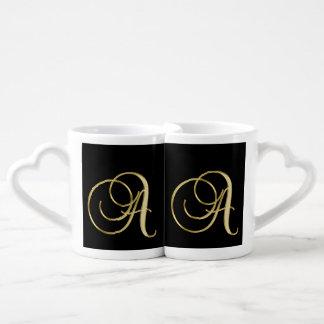 Set De Tazas De Café Su blanco y negro y el suyo del monograma elegante