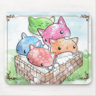 Setas lindas del gato de Mewshroom Mousepad en una Alfombrilla De Ratón