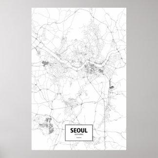 Seul, Corea del Sur (negro en blanco) Póster