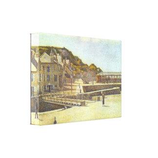 Seurat - puente y puerto de Puerto-en-Bessin Lona Envuelta Para Galerias