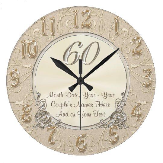 Sexagésimos regalos personalizados del reloj redondo grande