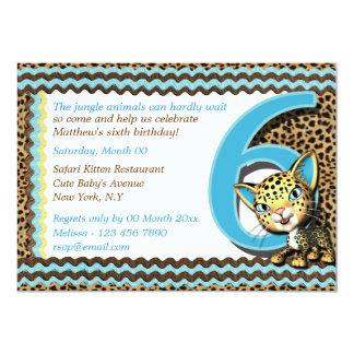 Sexto safari de selva del cumpleaños del bebé invitación 12,7 x 17,8 cm