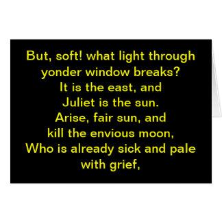 Shakespeare:  Juliet es el sol Tarjeton