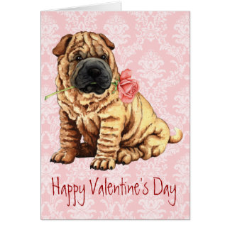 Shar-Pei subió tarjeta del día de San Valentín