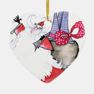 ShardArt Santa gordo de Tony Fernandes Adorno Navideño De Cerámica En Forma De Corazón