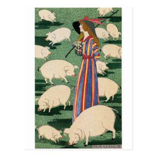 Shepherdess de la postal de los cerdos