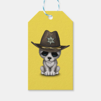 Sheriff lindo del lobo del bebé etiquetas para regalos