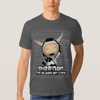 Sherman la vaca de Alaska que escucha la camiseta