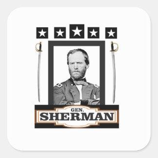 Sherman protagoniza las espadas pegatina cuadrada