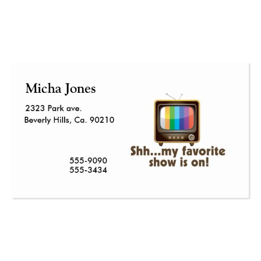 Shh mi demostración preferida está en la televisió plantillas de tarjetas personales