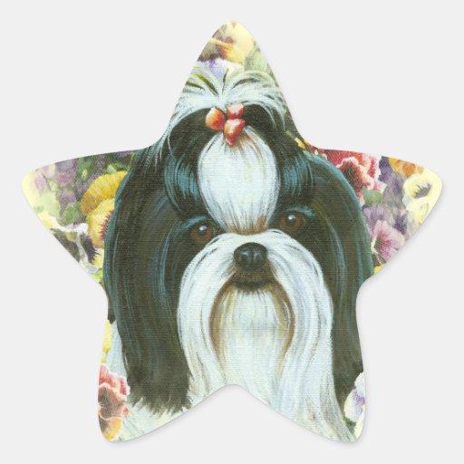 Shih Tzu y etiquetas de los pegatinas de la Calcomanía Forma De Estrella Personalizadas