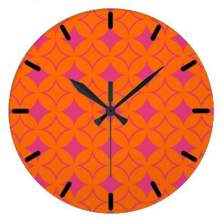 Shippo rosado y anaranjado reloj redondo grande