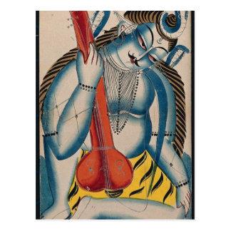 Shiva intoxicado que sostiene el cordero postal