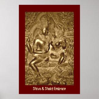 Shiva y abrazo de Shakti Póster