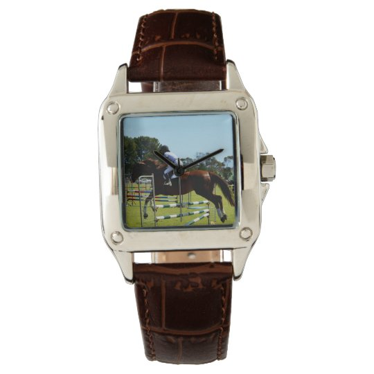 Show_Jumping_Horse_Square_Brown_Leather_Watch Reloj De Pulsera