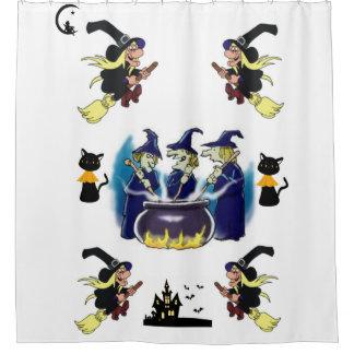 Showercurtain del blanco de las brujas del feliz cortina de baño