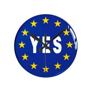 Sí a la UE - estancia en la unión europea Reloj Redondo Mediano