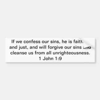 Si confesamos nuestro 1:9 de Juan de los pecados 1 Pegatina Para Coche