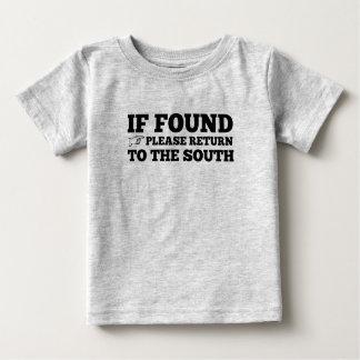 Si está encontrado, vuelva por favor al sur camiseta de bebé