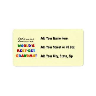 Si no conocido como regalos de la abuela Mejor-est Etiqueta De Dirección