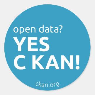 Sí pegatinas de C KAN (datos abiertos) Pegatina Redonda