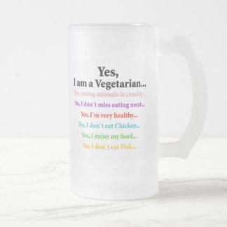 Sí, soy un vegetariano… taza de cristal esmerilado