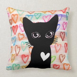 Si usted ama los gatos negros - corazones para cojín decorativo