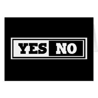 Sí y no tarjeta