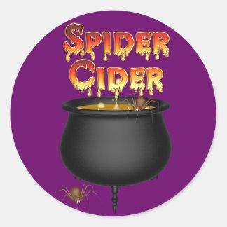 Sidra Halloween de la araña del KRW Pegatina Redonda
