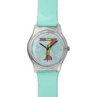 Siete afortunados en el reloj fresco de los azules