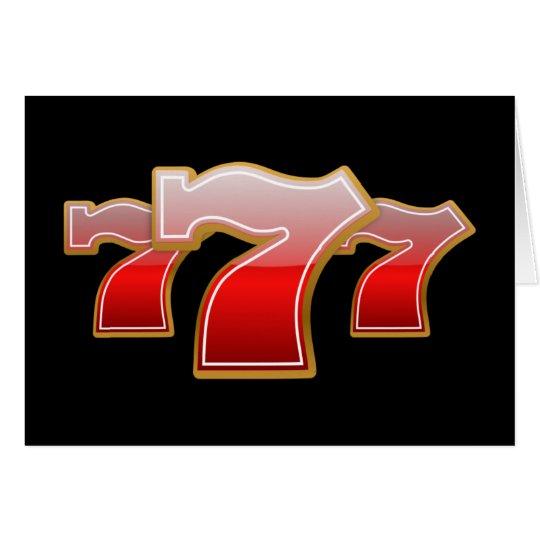 Siete afortunados - Sevens rojo en fondo negro Tarjeta De Felicitación