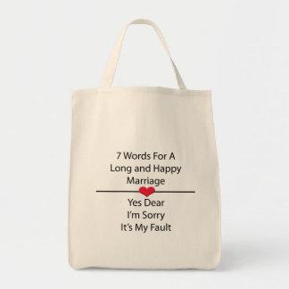 Siete palabras para una boda larga y feliz bolsa tela para la compra