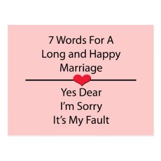 Siete palabras para una boda larga y feliz postal