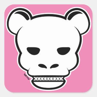 Sig de Pnk del oso del cráneo Pegatina Cuadrada