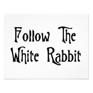 Siga el conejo blanco anuncio