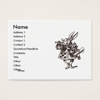 siga la tarjeta de visita blanca del conejo