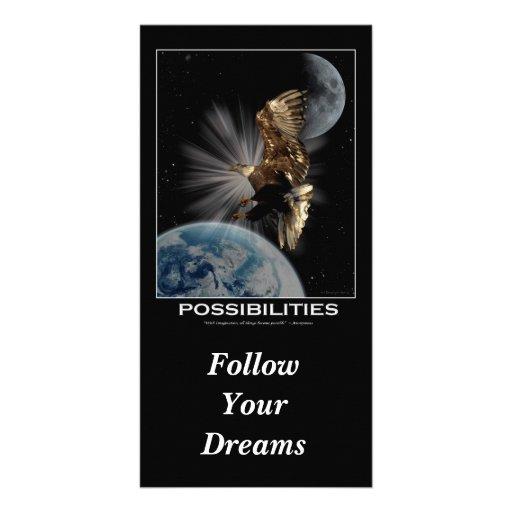 """""""Siga las tarjetas de motivación de sus sueños"""" Tarjetas Personales Con Fotos"""