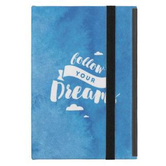 Siga su caja azul del iPad de la acuarela de los iPad Mini Fundas