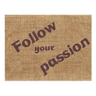Siga su cita de motivación de la pasión postal