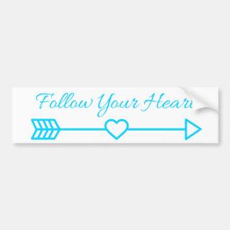 Siga su corazón pegatina para coche