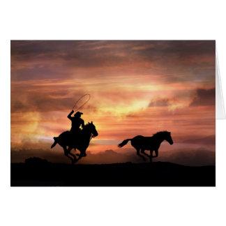 Siga su tarjeta del vaquero del estímulo de los