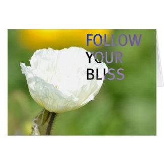 Siga su tulipán del blanco de la dicha tarjeta de felicitación