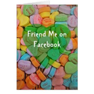 Sígame en corazones del Facebook-Caramelo con el n Felicitacion
