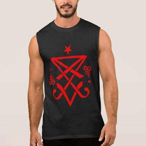 Sigil satánico de los hombres de la camiseta sin m