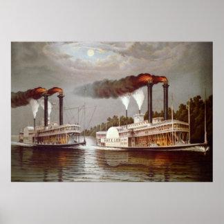 Siglo XIX de la raza de los vapores de los Póster