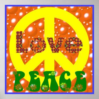 Signo de la paz 60s 70 del Hippie de la paz del am Poster